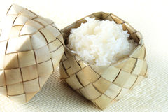 Sticky rice (Glutinous rice) in bamboo container (kratip). Stick Royalty Free Stock Photography