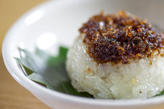 Sticky rice. Glutinous rice in a white plate Royalty Free Stock Images