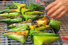 Sticky rice grilled asia food Stock Images