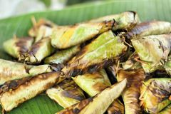 Sticky rice grilled asia food Stock Photos