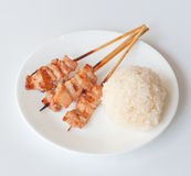 Sticky rice with grilled pork stick Royalty Free Stock Images