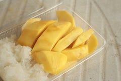Sticky rice with mango ,dessert of Thailand Stock Photos