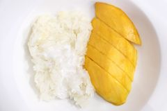 Sticky rice with mango, Thai food Royalty Free Stock Image