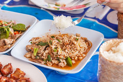 Sticky rice with Spicy Minced Pork Salad Stock Photo