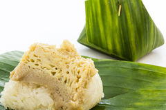 Sticky rice with steamed custard. Stock Images