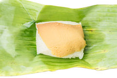 Sticky rice with steamed custard on banana leaf, traditional tha. I style desserts Stock Photos