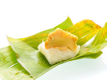 Sticky rice with steamed custard Stock Photo