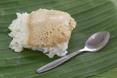 Sticky rice with steamed custard Royalty Free Stock Photo