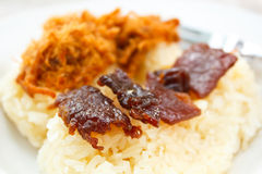 Sticky rice with sweet pork chop and fried meat. Stock Photography