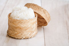 Sticky rice, Thai sticky rice in a bamboo wooden old style box Royalty Free Stock Images
