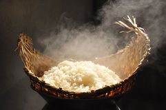 Sticky rice in wicker steamer Royalty Free Stock Photo