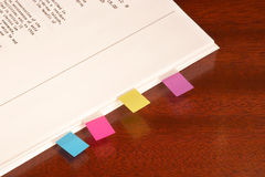Sticky tabs for document Stock Photo