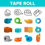 Sticky Tape Rolls Vector Color Icons Set vector illustration