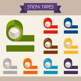 Sticky tapes colored templates for your design in Royalty Free Stock Photos