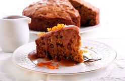 Sticky toffee pudding with caramel Royalty Free Stock Image