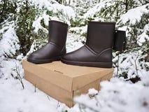 Stiefel das ugg der Frauen Details, Nahaufnahme, Winterwetter und Warmstarte stockbilder