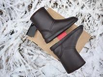 Stiefel das ugg der Frauen Details, Nahaufnahme, Winterwetter und Warmstarte lizenzfreies stockbild