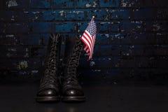 Stiefel mit Flagge Stockfoto