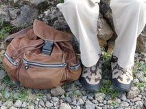 Stiefel und Rucksack Stockbild