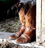 Stiefel und Stroh Lizenzfreies Stockfoto