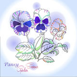 Stiefmütterchen auf blauem Hintergrund Stockbilder