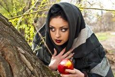 Stiefmutter wirft einen Bann über dem Apfel Lizenzfreies Stockfoto