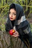 Stiefmutter wirft einen Bann über dem Apfel Lizenzfreies Stockbild