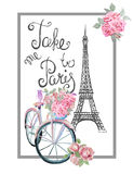 Stieg romantischer T-Shirt Paris Druck mit Fahrrad, Eiffelturm und Lizenzfreie Stockbilder