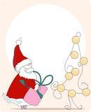 Stiekeme santa. groet kaart Stock Foto's