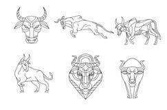 Stier en koe, Lijnvector Stock Afbeeldingen