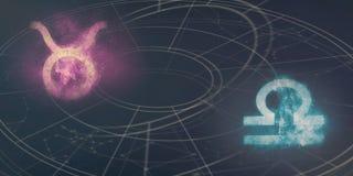 Stier en Weegschaal de verenigbaarheid van horoscooptekens Nachthemel Abstra stock illustratie