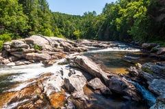 Stier-Schleuse auf dem wilden und szenischen Fluss Chattooga Lizenzfreie Stockbilder