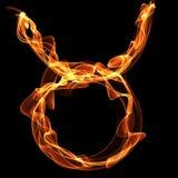 Stier zodiak die van brandbrand wordt gemaakt Stock Foto