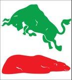 Stieren versus beren 2 Stock Fotografie