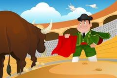 Stierenvechter en een stier Royalty-vrije Stock Fotografie