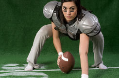 Female Powder Puff Football Player Playing Center Royalty Free Stock Images