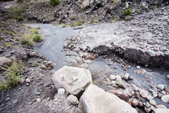 Stiff lava stream on side Royalty Free Stock Images