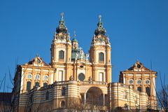 Stift (Abbey) Melk in Austria. Beautiful and historic Stift Abbey Melk in Austria Royalty Free Stock Photos
