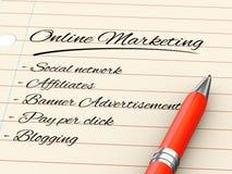 Stift 3d auf Papier - on-line-Marketing Lizenzfreies Stockbild