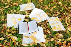 Stift, der auf dem Notizbuch mit Herbstlaub sitzt Stockfotos