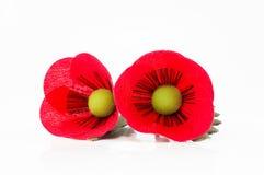 Stift för blomma för två tygvallmo på vit bakgrund Royaltyfri Bild