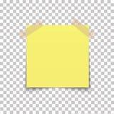 Stift för kontorspappersark på det klibbiga bandet med skugga som isoleras på en genomskinlig bakgrund vektor Royaltyfria Foton