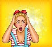 stift för popkonst upp chockad förvånad blond flicka med den öppnade munnen Sale illustration, rabatt som annonserar affischen vektor illustrationer