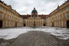 Stift Melk. Building of the Stift Melk monastery in Austria in Winter Stock Photos