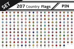 Stift mit 207 Landesflaggen Stockfoto