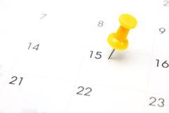 Stift på kalender Fotografering för Bildbyråer