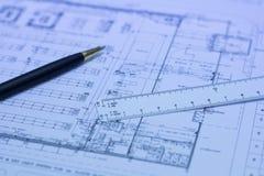 Stift, Skalamachthaber und Plan Vektor Abbildung
