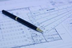 Stift, Skalamachthaber und Plan Lizenzfreies Stockfoto