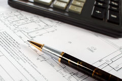 Stift, Taschenrechner, zeichnend Lizenzfreie Stockfotografie