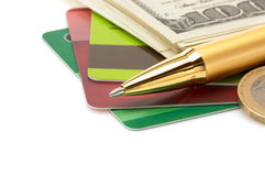 Stift- und Dollargeldbanknoten Stockbild
